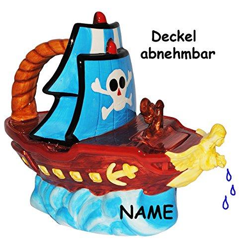 alles-meine.de GmbH 3-D Design - Gießkanne - Deko Kanne  Piratenschiff / Schiff Pirat  - incl. Namen - mit Deckel & Henkel - für 1,8 Liter - stabil aus Porzellan / Keramik - ed..