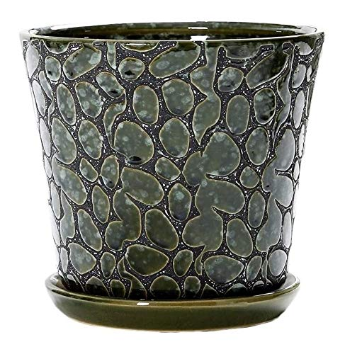 with Tray Ceramics Flowerpot Bonsai Flower Pot Green Plant Plant Stand Plant Pots for Outdoor Indoor Can be Placed in Indoor or Outdoor Ceramic Flower (Color : Green, Size : Oversized)