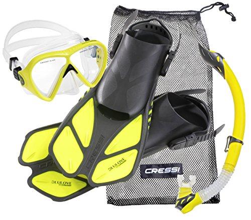 Cressi Tauchset BONETE Deluxe (Tauchmaske, Schnorchel, Flossen & Netzbeutel) - Yellow - Gr. L/XL - 43/47