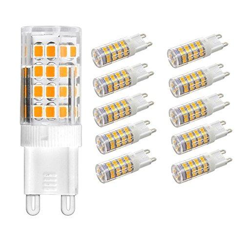G9 LED Lampe, Warmweiß 3000K, 5W G9 LED Leuchtmittel, 450 Lumens, Kein Flackern, LED Birne G9 Ersetzt 40W G9 Halogenlampe, 360°Abstrahlwinkel, Nicht Dimmbar, 220-240V AC, 10 Stück