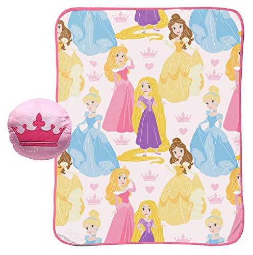 Jay Franco Disney Princess 40' x 50' Blanket, Kids Super Soft 2 Piece Nogginz Set - Features Aurora, Belle, Cinderella, Rapunzel (Official Disney Product)