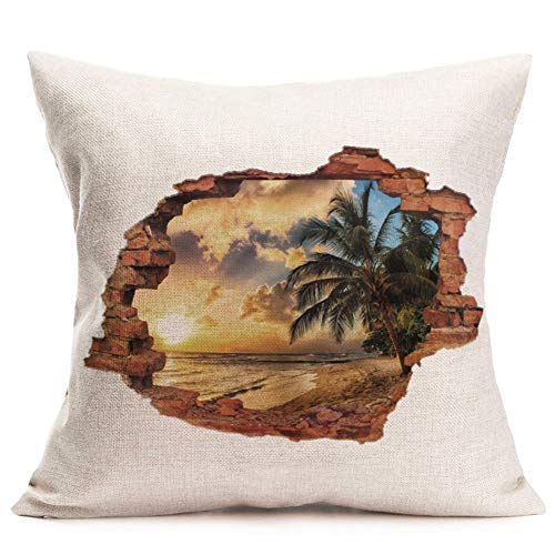 Fukeen Tropical Summer Beach Throw Pillow Covers Vintage Brick with CoconutPalm Tree Leaves Exotic Plants Throw Pillow Cases Cotton Linen 18x18 Inches Outdoor Home Decor Cushion Cover