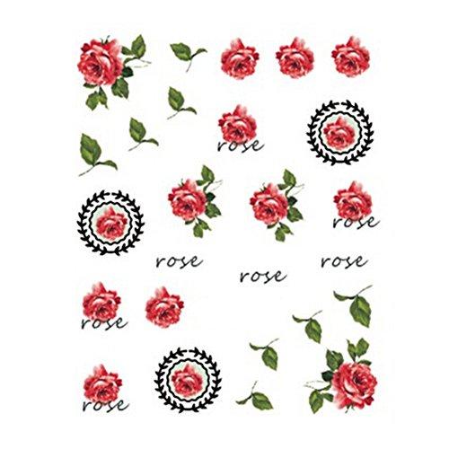 5Pcs Belle Motif Fleurs Nail Art Tips Sticker Décoration, BLE2035