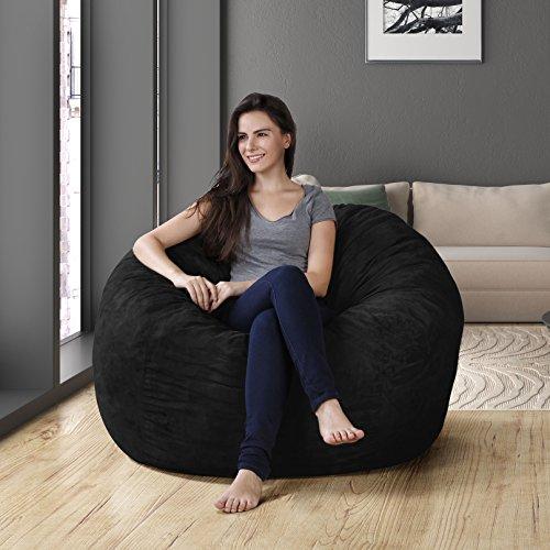 Original Panda Sleep XL Bean Bag in Comfort Suede, Black Onyx (4-Foot)