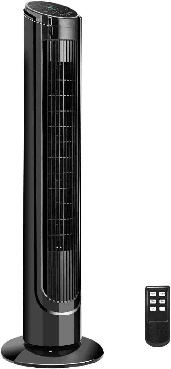 Toolsempire Tower Fan Quiet Oscillating High Velocity Bladeless Tall Cooling Fan Tower with Remote 40 LCD Black