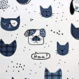 Tessuto in jersey interlock, 100% cotone, larghezza 160 cm, per bambini (lunghezza: 100 cm, Cats and Dogs blu)