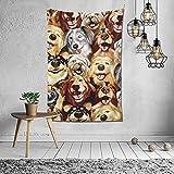 Husky Golden Retriever Mastín tibetano Perro Pintura Tapiz Hippie Colgante de pared para el hogar Sala de estar Dormitorio Tapiz colgante Arte de la pared