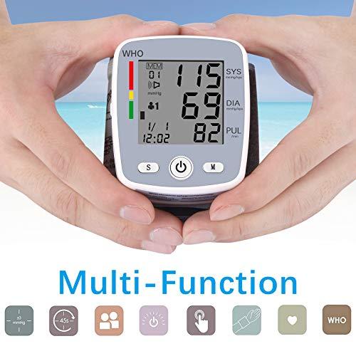 51Ddi29e4eL - U-Kiss Tensiómetro de muñeca, monitor de presión sanguínea para el hogar o portátil (Gris)
