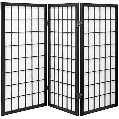 Oriental Furniture 3 ft. Tall Window Pane Shoji Screen - Black - 3 Panels