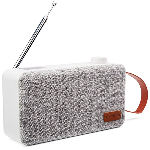 sky vision DAB Radio Bluetooth 31 W - Digital Radio DAB+, DAB Plus Radio mit Bluetooth, DAB Radio klein mit Lautsprecher, tragbares Radio für unterwegs, weiß