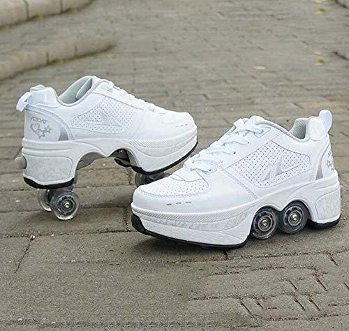 skates Déformation à Double rangée Déformation de Roue de Roue Automatique Chaussures de Marche Invisible Roller 2 en 1 Pistes de poulie Amovible