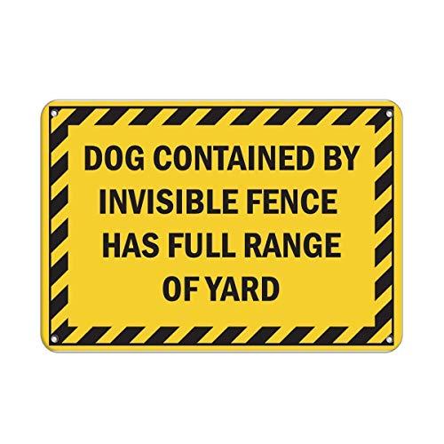 TSHOME Señal de perro contenida en la valla invisible tiene una gama completa de metal estaño signos retro vintage de aluminio para decoración de pared Shabby Chic 8 x 12 pulgadas