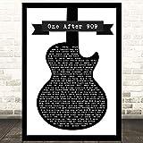 EaYanery One After 909 - Canción de guitarra en blanco y negro con cita de letra de canción artística con impresión de letras de 35 x 28 cm con marco