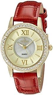 ساعة نسائية من بيجو 3044GRD مرصعة بالكريستال لون ذهبي سوار جلد احمر كوارتز عرض تناظرية حمراء
