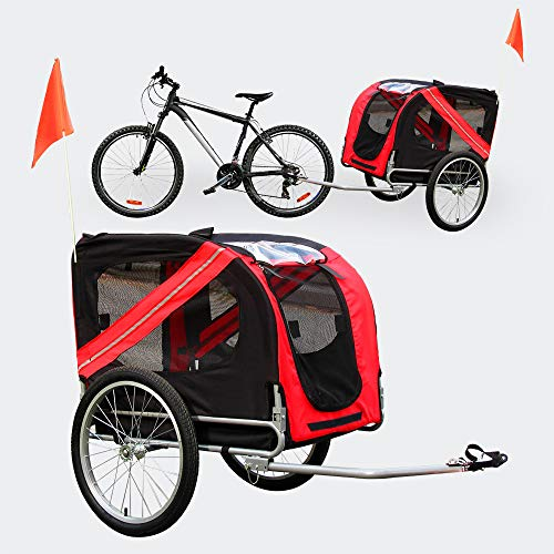 WilTec Remorque de vélo Chien Noire et Rouge Raccord de sécurité & Protection Contre Pluie Moustiquaire