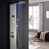 Auralum - Columna de Hidromasaje Ducha Moderna 3 Función con Luces led Panel de Ducha Hidromasaje Acero Inoxidable con Pantalla LCD para Baño
