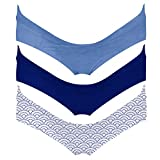 Intimate Portal Damen Schwangerschaftsslip Umstandsunterhosen Schwangerschafts Postpartale Unterwäsche aus Baumwolle 3er Pack L Blau Blau Wellen
