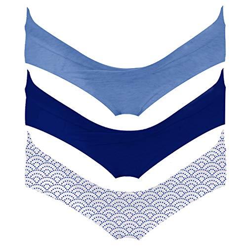 Intimate Portal Women Under The Bump Maternity Pregnancy Postpartum Bikini Panties 3 Pack Blue Blue Waves Medium