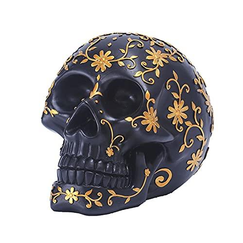 Handgemachte Schädel Modell Schädel Handwerk Realistische Harz Schädel Dekoration mit Muster für Halloween Party Raum Bar Dekoration, Schwarz