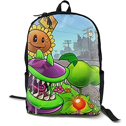 Plants Vs Zombies Mochila ligera resistente al agua para adolescentes y niñas, mochila escolar con bolsa de almuerzo