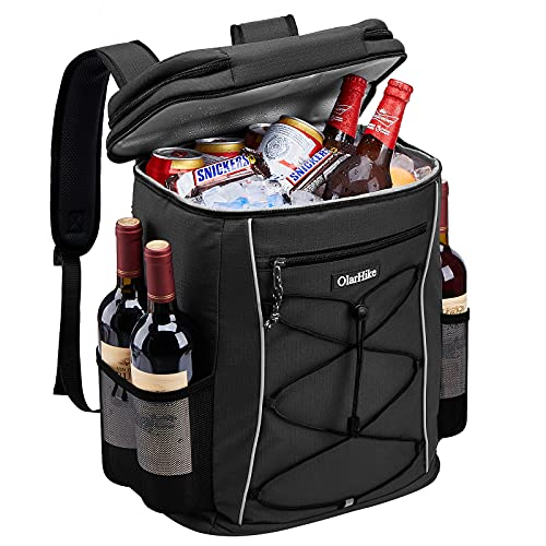 OlarHike Cooler Backpack with Reflective Strip, 30 Cans Insulated Waterproof Backpack Cooler Bag for Hiking, Camping, Picnic