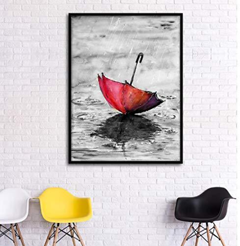 Rode paraplu wind Europese retro decoratieve schilderkunst poster foto 60X80cm (geen frame)