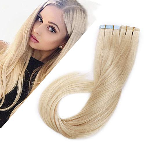 Benehair Platinum Blonde Tape in Hair Extensions 100g 40pcs 16 inch Remy Human Hair Highlighted Long Straight Seamless Invisible Skin Weft Invisible Double Sided Tape #60 100g