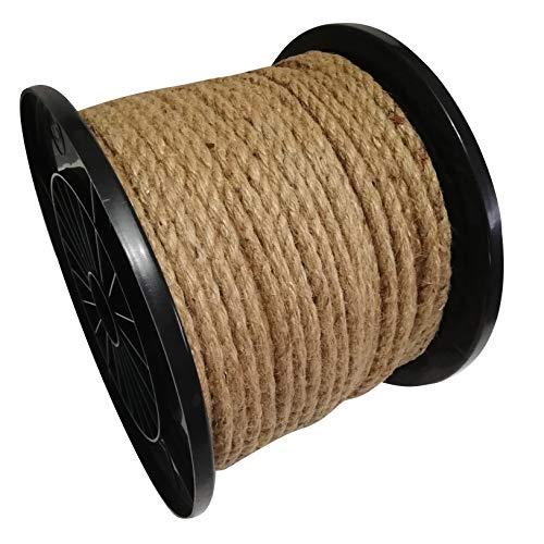 Cuerda de yute de fibras naturales, enroscada, de 6mm - 20 mm, para cordaje, cuerda de cáñamo para pasamanos, Beige