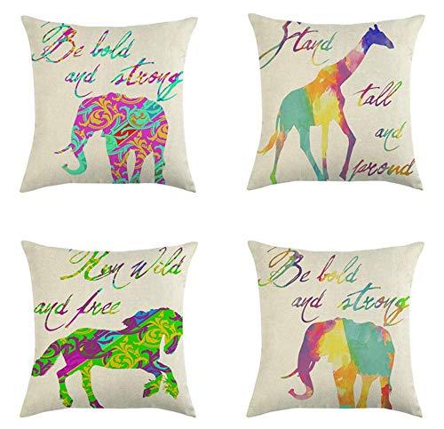 JgZATOA Colorful Giraffe CushionCoverPillowCaseLivingRoomSofaCouchPillowcasesOfficeCushion45CmX45CmSetOf4