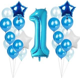 1歳誕生日 飾り付け風船-25個数字バルーンセット 装飾 バースデー デコレーション セット (ブルー)