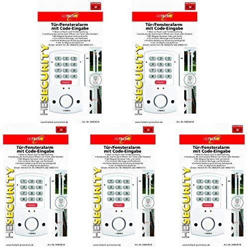 Heitech® 5er Set Tür- und Fensteralarm mit Code-Eingabe, inkl. 2X AA Batterien. Alarmanlage mit Bewegungsmelder als Einbruchschutz