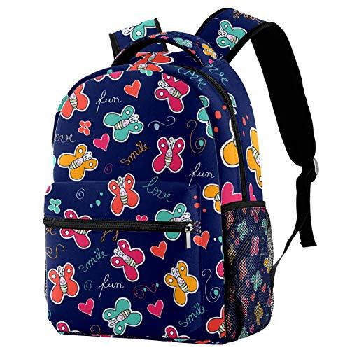 Mochila de viaje con diseño de mariposas, color azul marino, para mujeres, adolescentes, niñas y niños