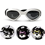 Homesupplier Dog Goggles Doggie Sunglasses for Small Medium Pets Dogs Glasses Puppy Eyewear Windproof UV Protection, Vet Recommended Eye Protection (White)