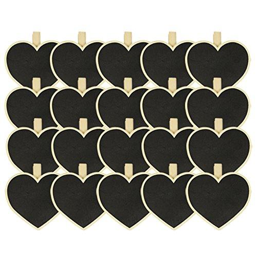 com-four® Mini Planche en Bois 20x avec Craie pour la Saint-Valentin et Le Mariage - Petite Planche à Craie également pour Les Herbes et Les Plantes (20 pièces - Planche)