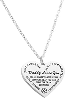 Eilygen Daddy to My Daughter Necklace Daughter Heart Pendant Necklace Inspirational Jewelry Gifts for Daughter from Dad Daughter Gift