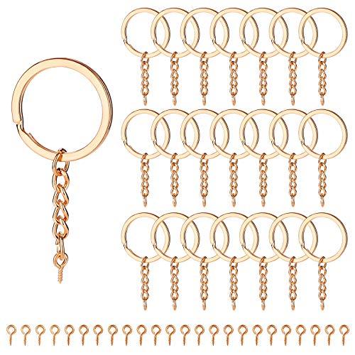 Juego de 240 anillos de llavero, incluye 60 llaveros divididos en oro rosa con cadena y anillos de salto abiertos de 30 mm, 180 pasadores de ojo de tornillo, juego de llaveros de metal plano