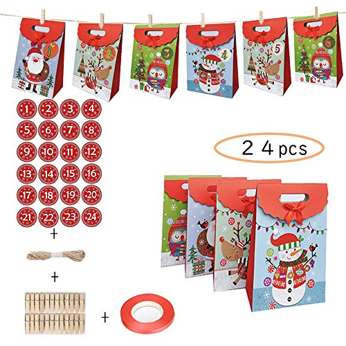 LHSDJ Adventskalender Zum Befüllen 24 Papiertüten Weihnachten Geschenksäckchen Mit 1-24 Adventszahlen Aufkleber Weihnachtskalender TütenE