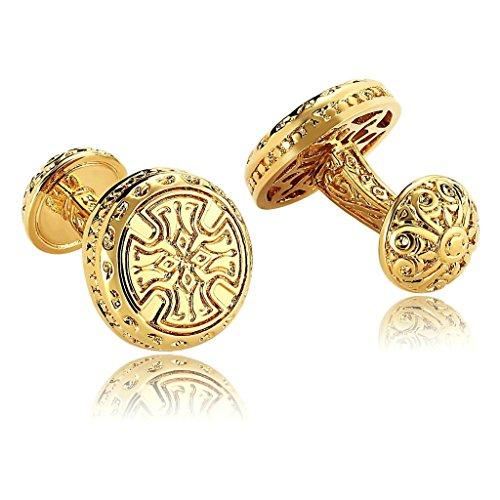 AnazoZ Bijoux de mode 1 paire de boutons de manchette Homme Acier inoxydable Vintage Celtic Croix Couleur Or Boutons de manchette pour homme