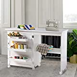 Folding Wood Sewing Table Sewing Machine Craft Cart Cabinets Clearance with Storage Shelves Bins and Lockable Casters for Home(White)