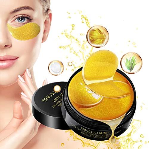 Eye Mask, Augenpads, Anti Aging Pads, 24k Gold Eye Patches, Augenmasken Gegen Augenringe für Feuchtigkeit Spendende, Entfernen Augenringe, Falten, Feine Linien, tränensäcke, Puffiness, 60pcs
