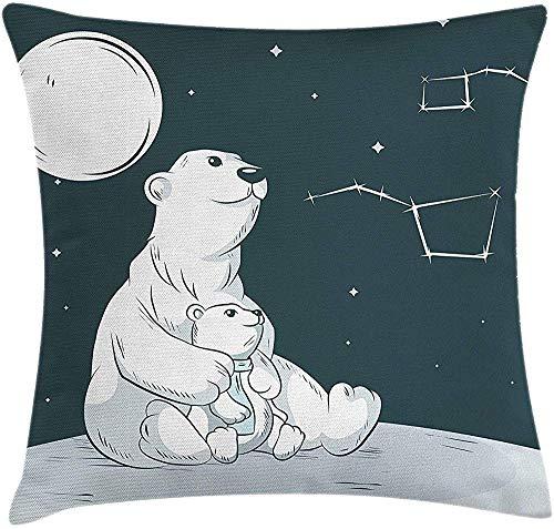 zhaoyang Divertida y duradera funda de cojín con diseño de estrellas, para madre y oso polar