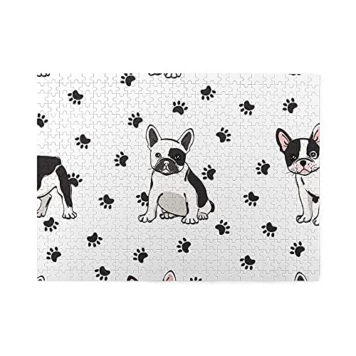 500 Piece Jigsaw Puzzle Cute French Bulldog Handmade Gifts Puzzles Game for Wedding,Graduation,Adults,Kids