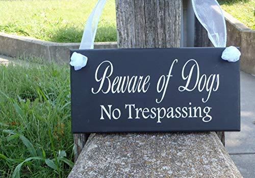 Ced454sy Gift Geen Trespassing Hond Teken Houten Vinyl Poort Tekenen voor Hekken Outdoor Private Respect Grenzen Keep Out Mege voor Huiseigenaren en Bedrijven