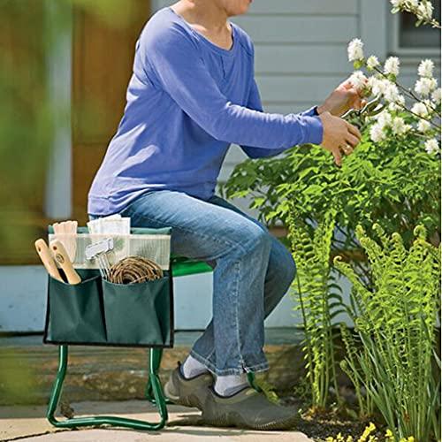 QHW Asiento y Rodilleras de jardín, fáciles de Transportar y Plegar, Asiento de Taburete de Metal y Almohadilla de Espuma, para jardinería al Aire Libre y Bricolaje