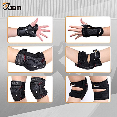JBM Adult BMX Bike Knee Pads and Elbow Pads with Wrist Guards Protective Gear Set for Biking, Riding, Cycling and Multi Sports: Scooter, Skateboard, Bicycle, Rollerblades (Black, Adult)