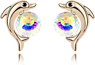 St.Ushine Exquisite Dolphin Animal Ball Champagne Gold Plated Crystal Stud Earrings for Women Girls Gift