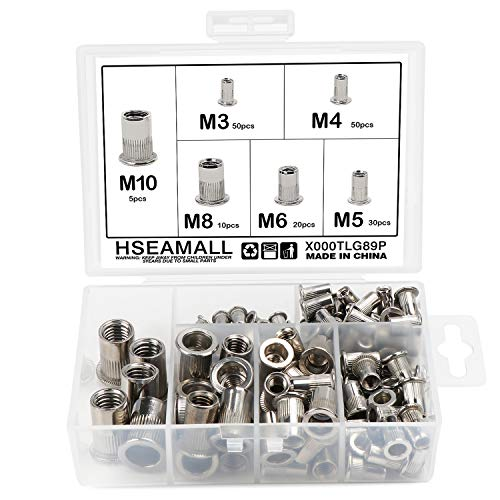 HSeaMall 165 STÜCKE Edelstahl Nietmutter Werkzeug Flachkopf Gewinde Rivet Nutsert Cap Sortiment kit M3 M4 M5 M6 M8 M10 Arten Muttern (6 Types 165PCS)