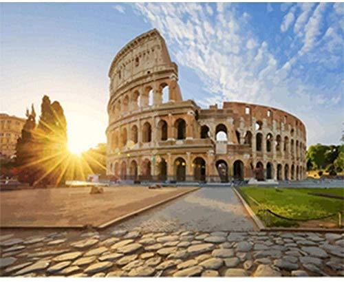 punto de cruz diamante-Escenografía del teatro romano-DIY adulto Bordado kit adecuado para principiantes para la decoración del hogar 40x50 cm