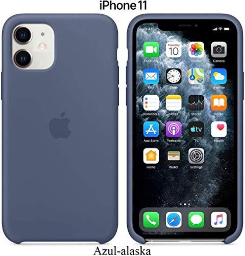 Funda Silicona para iPhone 11 Silicone Case, máxima Calidad, Textura Suave, Forro Interno Microfibra (Azul-Alaska)