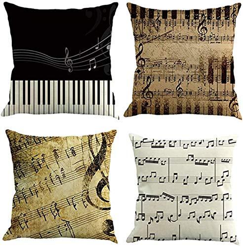 Lufria Juego de 4 Fundas de Almohada Decorativas con Notas Musicales Retro,Fundas de Cojines para sofá,Funda de Almohada,Funda de cojín para sofá,45x45cm